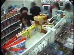 Asian babe fucked in a public store