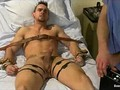Bound gay get electro shocks to penis in hospital bed