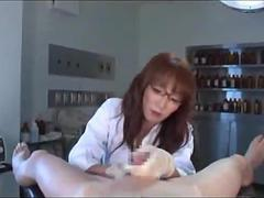 Female doctor giving handjob
