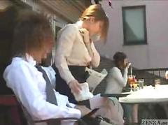 Cute Japanese waitress gives handjob in crowded restaurant