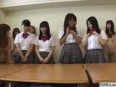 Naked in school Japanese schoolgirls welcome new classmates