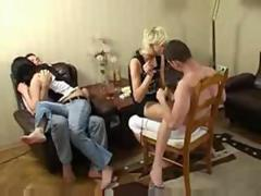 college students Swingers party and Foursome group orgy sex at Home