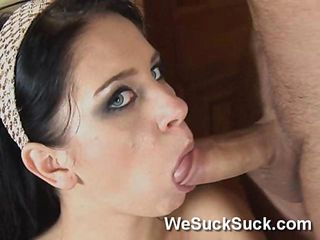 Jessica Rox Blows Guy Until He Cums Into Her Mouth