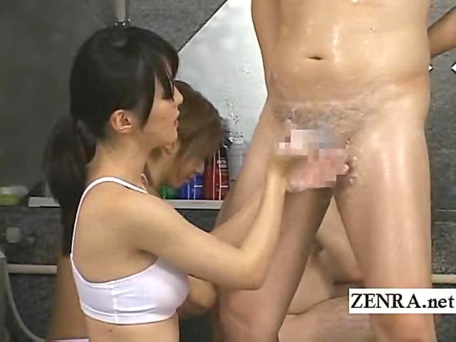 2 asian girls soap on bodies rubbing pussies scissor on the mattress in the 2