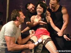 Four guys punishing and fucking a slavegirl