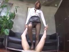 Office lady in pantyhose getting her legs fucked giving footjob cum to leg in the office segment