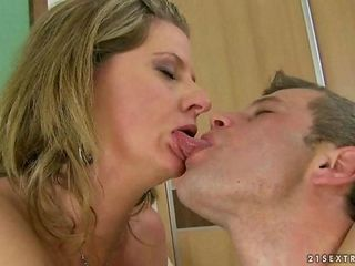 Granny enjoys hot fucking with a young dude