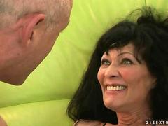 Granny in stockings getting fucked hard by her man
