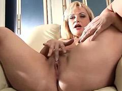 Mature older blonde anal beads moisten her pussy for deep dildo penetration segment