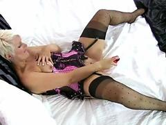 Mature cougar sally taylor diddles her pink bits with a rubber cock feature