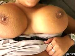 Enormous boobs horny slut paid for public sex and cumshot