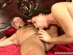 Teen enjoys nasty sex with a horny grandpa