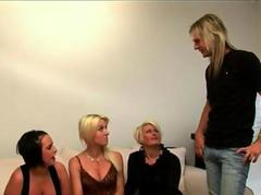 Angry wife and her friends punish CFNM hubby