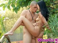 Hot teen fucked and jizzed in jungle