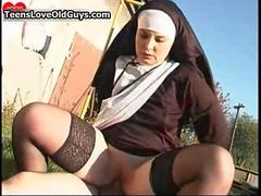 Horny  nun is riding the priests