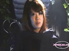 Asian Heroine In Leather Outfit Sucking Other Girl Strapon In The Dungeon