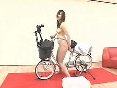Hot Japanese babes fuck themselves with a bicycle toy