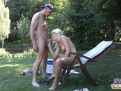 Horny blonde babe cooling down her hot pussy with an old man
