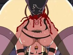 Blonde hentai mistress pussy smashing her sex slave