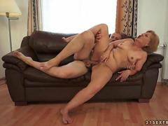 Insatiable old chick loves sucking and riding her young boyfriends cock