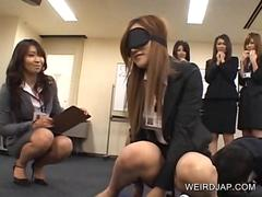 Blindfolded Japanese office babe fucking a pen