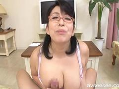 Tit-fuck and a Blowjob with a Japanese MILF