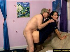 CFNM femdom demands fucking from old man in HD