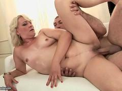 Lusty grandma enjoys hard sex with her man