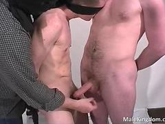 Tied homo is wanked off by a filthy queer segment