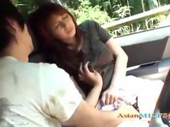 Asian Milf gets groped and jerks junk in a car
