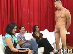 Cfnm femdom judge a jerk off competition