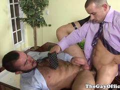 Horny office hunk ass fucked for a promotion