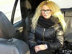 Curly blonde with glasses fucking in a fake taxi