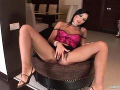 Hot busty brunette Angelica fuck glass dildo