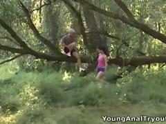 No, these two arent playing hide and seek in the woods, they are playing stick it in my arse!