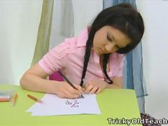 Vika is in the school room after misbehaving, with a pink top and a sexy plaid skirt