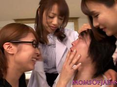 Japanese MILFs in lingerie punish dude