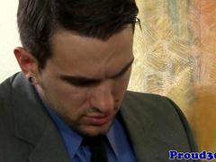 Mature gay stud visits partners office