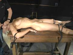 Dominated blonde restrained in ropes made to suck deepthroat