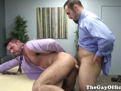 Gaysex suits jizz after giving horny advice