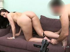 Big booty brunette banged on casting couch