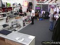 Hairy ass dude gets plowed in a pawnshop