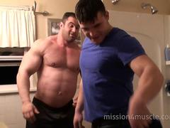 Bodybuilders in the shower