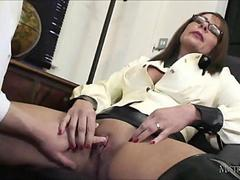 Sexy head mistress spanks students ass and makes him cum for wanking in class