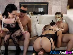 Masked babes fuck in orgy