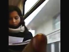 Cock Flasher Riding On The Public Train