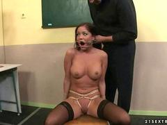 Angelica Heart gets bondaged and punished in classroom