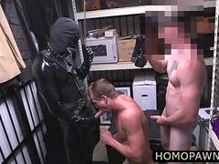 Hunk pervert pawnshop owners loves threesome and fucked his handsome costumer