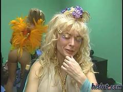 Blonde MILF Nina Hartley behind the scenes