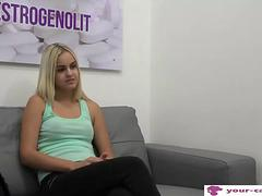 Blonde teen fucked on her first casting